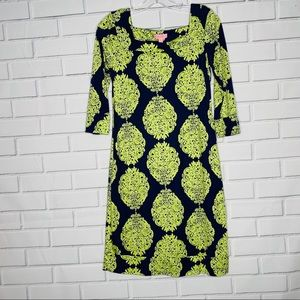 silk Lilly Pulitzer dress navy blue lime green 6